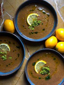 truffled mushroom soup with hazelnut gremolata