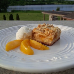 Rustic Peach and Almond Crumble Bars