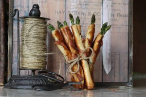 bacon wrapped phyllo asparagus cigars