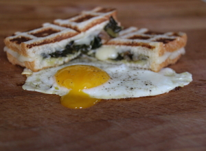 Eat Yo Greens:  Brioche Grilled Cheese with Braised Dandelion and Farm Eggs