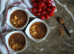 Roasted Tomato Soup with Aged Cheddar and Brown Butter Bread Crumbs