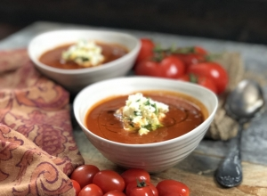 Winter Roasted Tomato Soup with Herbed Ricotta