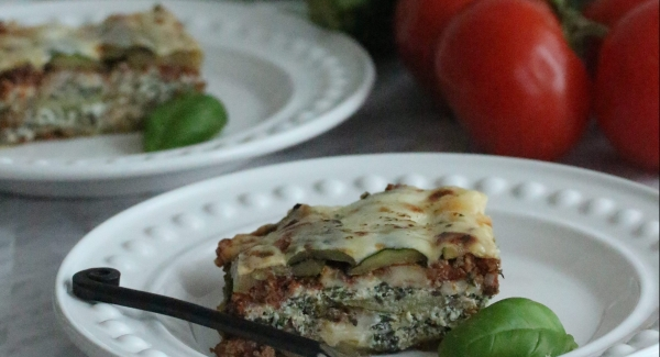 Homemade Béchamel Topped Bolognese Zucchini Lasagna
