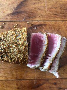 pan seared tuna sliced