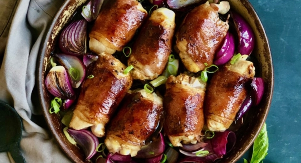 Prosciutto Wrapped Stuffed Chicken Thighs